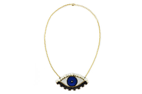 Emu necklace blue marin-gold