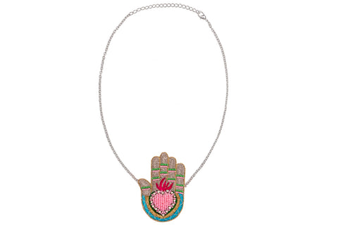 Manu necklace silver-pink