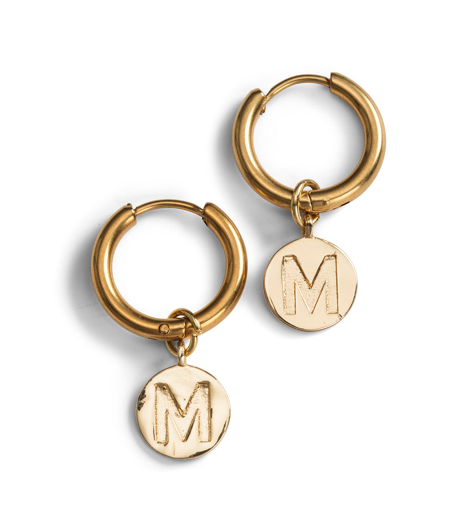 Mini monogram hoops