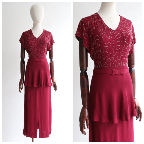 """Beaded Burgundy"" Vintage 1940's Burgundy Crepe Silk & Silver Beadwork Dress UK 8-10 US 4-6"