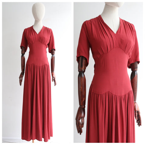 """Terracotta Crepe"" Vintage 1940's Terracotta Red Crepe Silk Dress UK 8 US 4"