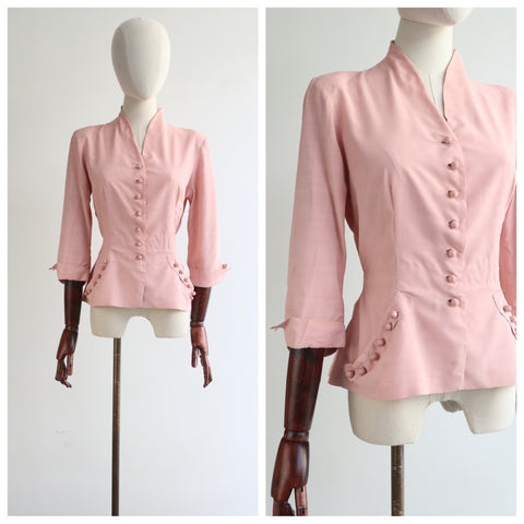 """Perfectly Pink"" Vintage 1940's Pink Silk Button Feature Blouse UK 10 US 6"