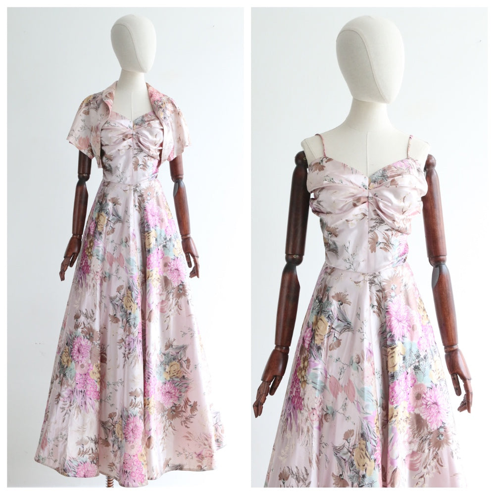 """Lilac Florals"" Vintage 1950's Lilac Satin Floral Evening Dress & Bolero UK 10-12 US 6-8"