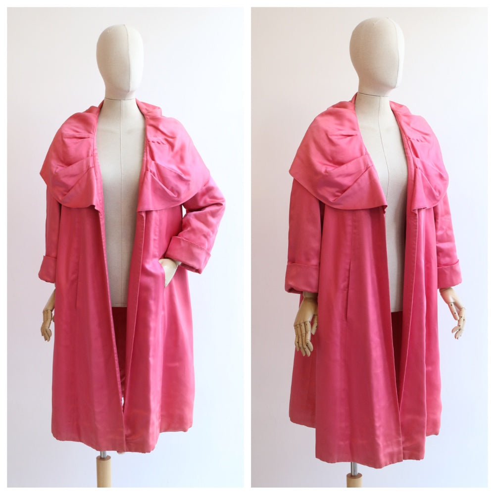 """Hardy Amies"" Vintage 1950's Hardy Amies Pink Duchess Satin Swing Coat UK 10-14"