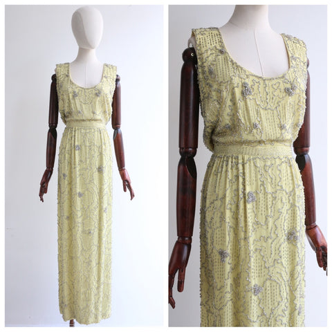 """Malcom Starr"" Vintage 1960's Yellow & Silver Beaded Malcom Starr Evening Dress UK 10 US 6"