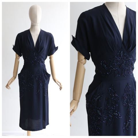 """Trailing Bugle Beads"" Vintage 1940's Navy Blue Crepe Silk Beaded Dress UK 12 US 8"