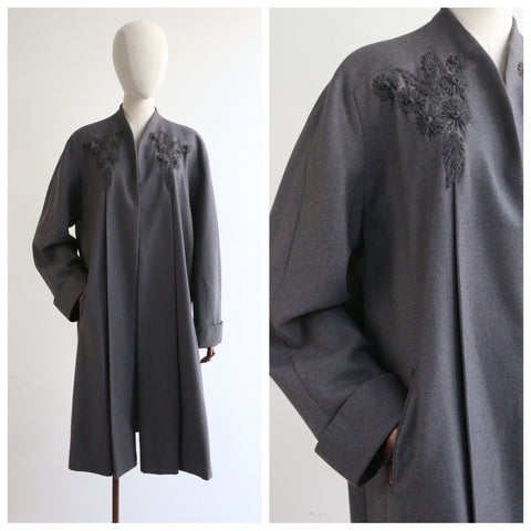 """Charcoal Embroidery"" Vintage 1940's Charcoal Grey Embroidered Coat UK 14-16 US  10-12"