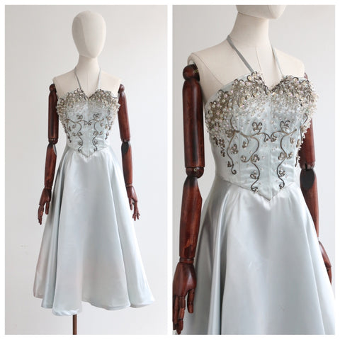 """Satin & Soutache"" Vintage 1950's Ice Blue Satin Embellished Halter Neck Dress UK 10 US 6"