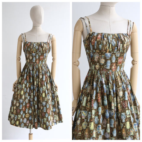 """The Vase Collection"" Vintage 1950's Vase Print Cotton Dress UK 10-12 US 6-8"