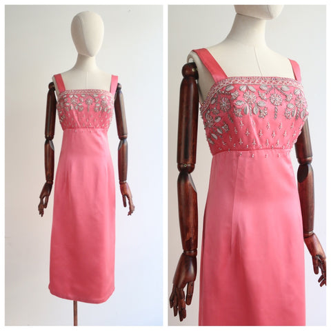 """Sorbet Satin"" Vintage 1960's Sorbet Satin Bead & Embroidery Embellished Dress UK 8-10 US 4-6"