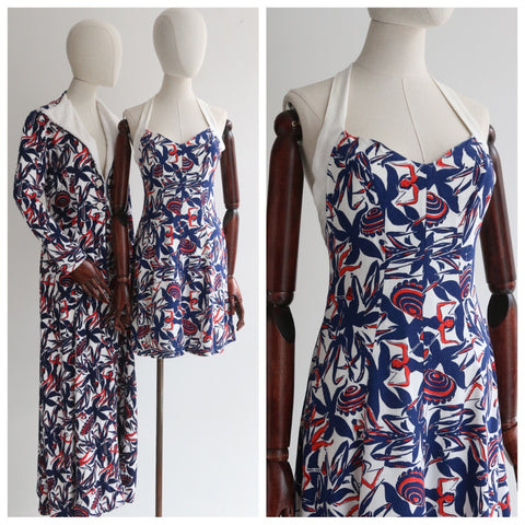 """Riviera Set"" Vintage 1930's Novelty Print Riviera Coat & Playsuit Set UK 8-10 US 4-6"