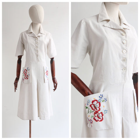 """Pockets of Wild Flowers"" Vintage 1940's French Linen Wild Flower Pocket Dress UK 12-14 US 8-10"