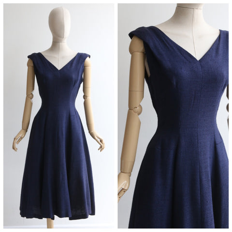 """In Navy"" Vintage 1950's Navy Blue Dress UK 10 US 6"