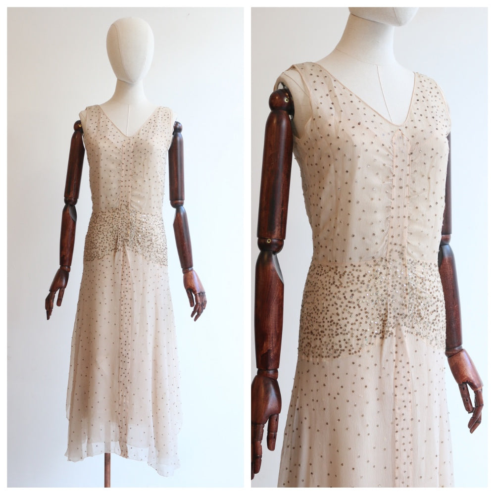 """Blush & Gold Sequins"" Vintage 1920's Blush Silk Chiffon Tiered Dress UK 8-10 US 4-6"