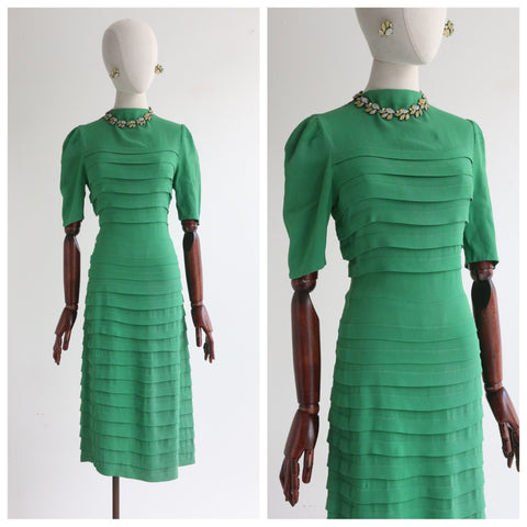 """Meadow Green"" Vintage 1940's Green Silk Tiered Dress UK 10 US 6"