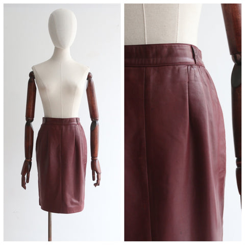 """Vintage Gucci"" Vintage 1970's Burgundy Leather Gucci Skirt UK 8 US 4"