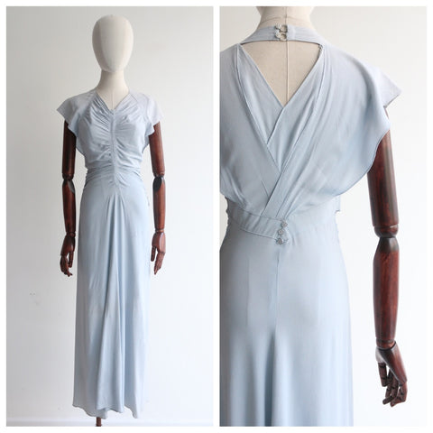 """Ice Blue Silk"" Vintage 1930's Ice Blue Ruched Crepe Silk Dress UK 8-10 US 4-6"