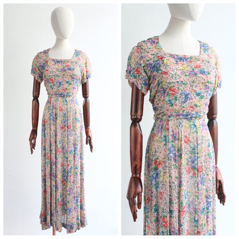 """Fields of Flowers"" Vintage 1930's Cotton Floral Dress UK 12 US 8"