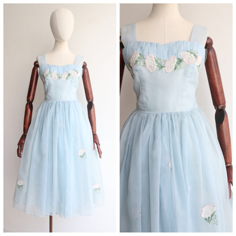 """Powder Blue "" Vintage 1950's Powder Blue Floral Appliqués Dress UK 8-10 US 4-6"