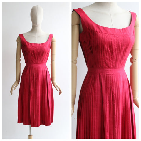 """Raspberry Pleats"" Vintage 1950's Raspberry Pink Pleated Dress UK 6-8 US 2-4"