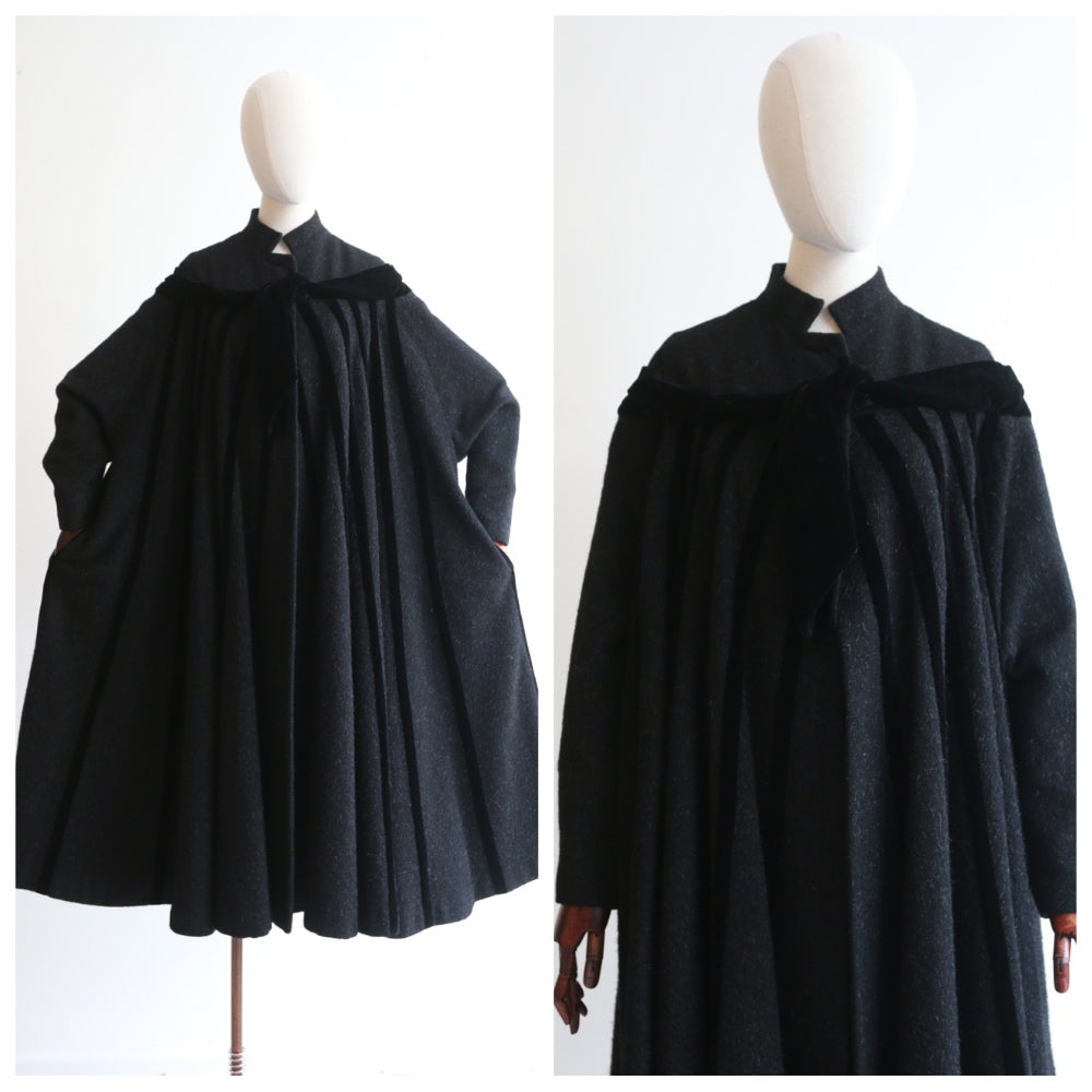 """Mohair & Velvet"" Vintage 1950's Black Mohair & Velvet Swing Coat UK 10-12"