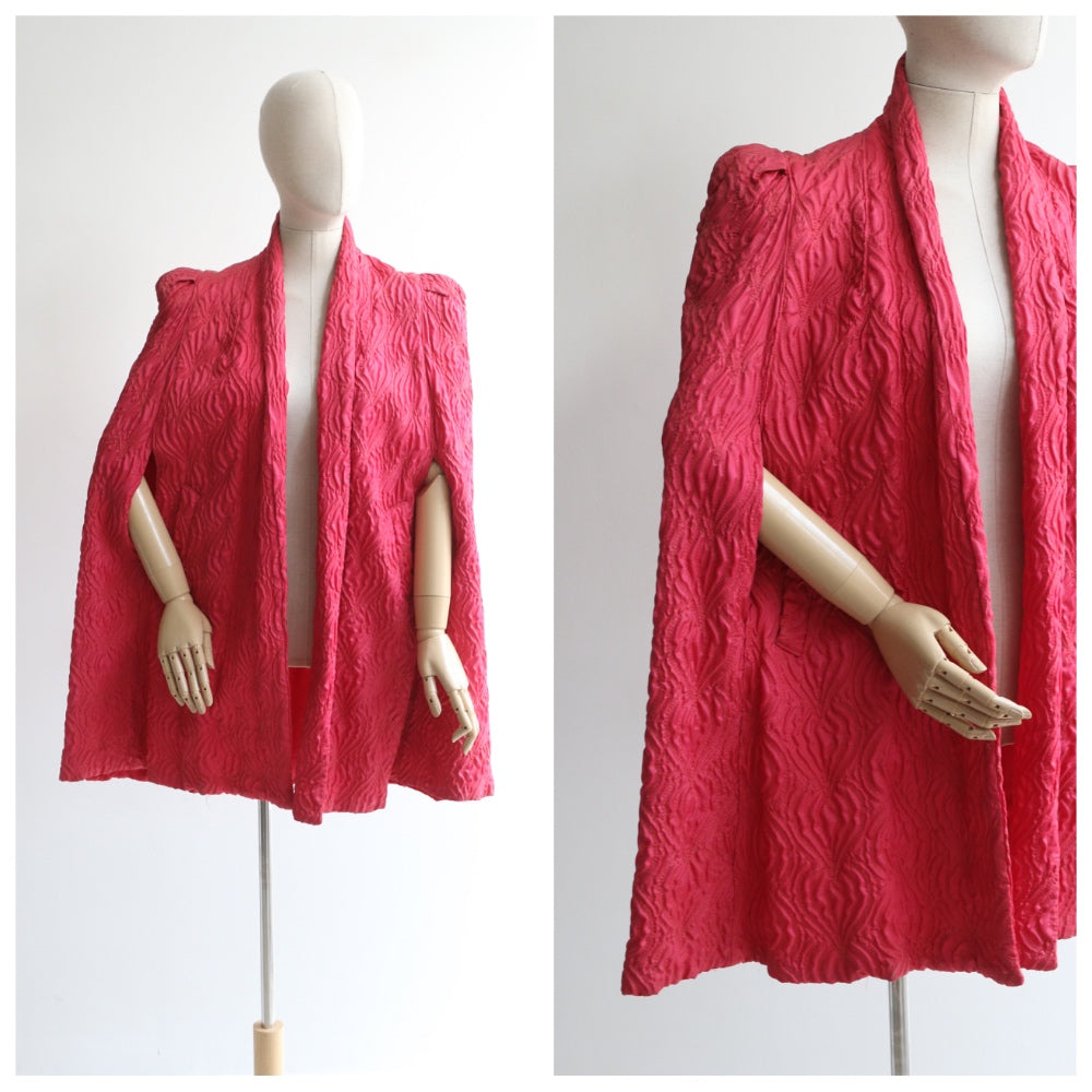 """Hot Pink Embroidered Cape"" Vintage 1940's Hot Pink Embroidered Cape  UK 10-14 US 6-10"