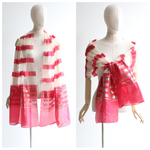 """Pink & Gold"" Vintage 1950's Fine Silk Pink & Gold Striped Shawl"