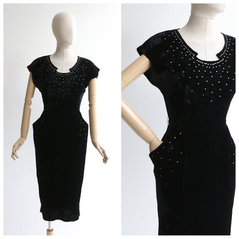 """Gloria Swanson"" Vintage 1950's Black Velvet & Rhinestone Embellished Wiggle Dress UK 8 US 4"