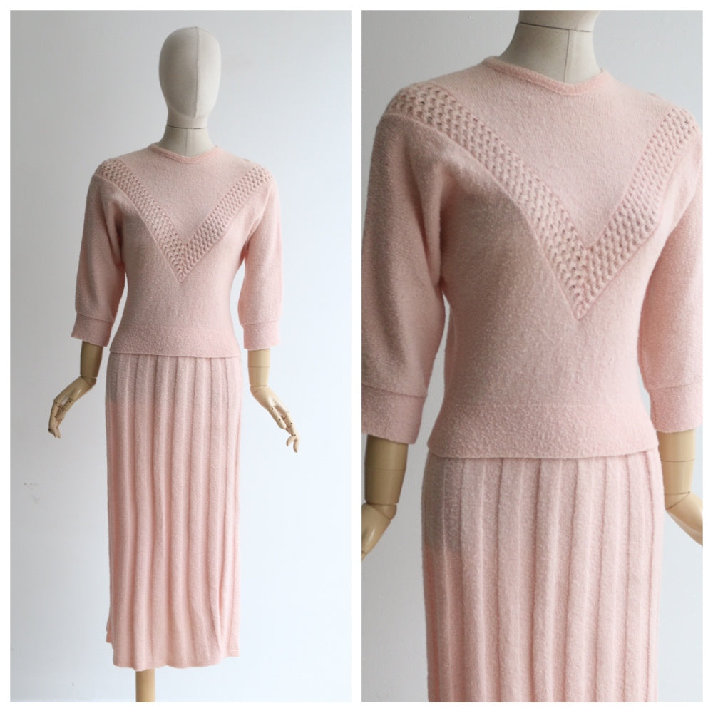 """Pink Set"" Vintage late 1940's Early 1950's Pink Knitted Skirt & Blouse Set UK 10 US 6"