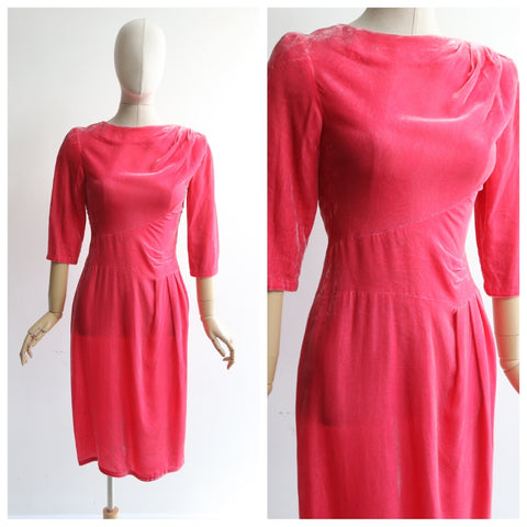 """Pink Velvet"" Vintage 1950's Pink Velvet Wiggle Dress UK 8 US 4"