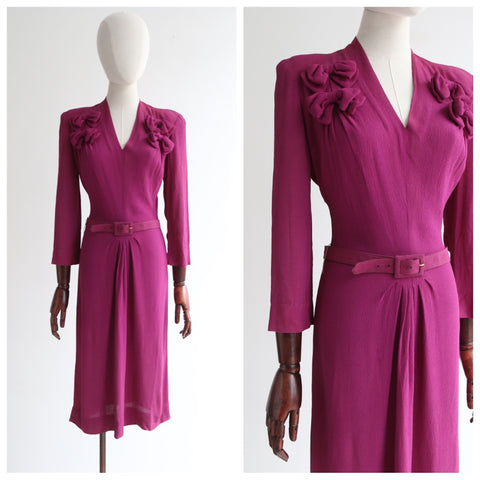 """Finished With Bows"" Vintage 1940's Plum Crepe Silk Dress Embellished with Bows UK 8-10 US 4-6"