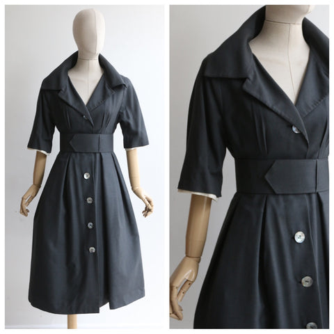 """Winter Grey"" Vintage 1950's Winter Grey Wool Dress UK 10 US 6"