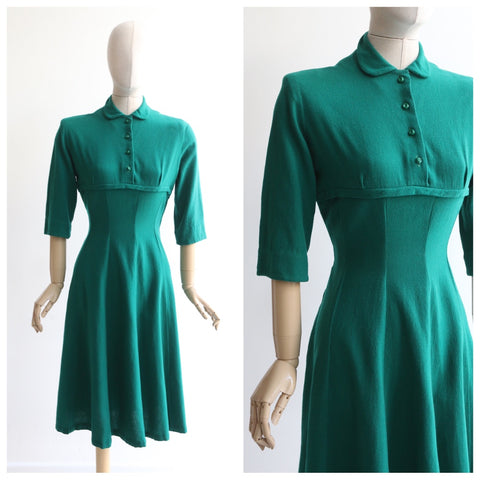 """Succulent Green"" Vintage Early 1950's Green Wool Dress UK 10 US 6"