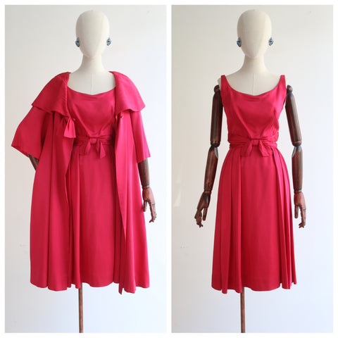 "Raspberry Satin"" Vintage 1950's Raspberry Satin Dress & Matching Coat UK 8 US 4"