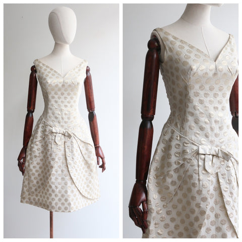 """Golden Tulip"" Vintage 1960's Gold Lurex Polkadot Tulip Dress UK 6-8 US 2-4"