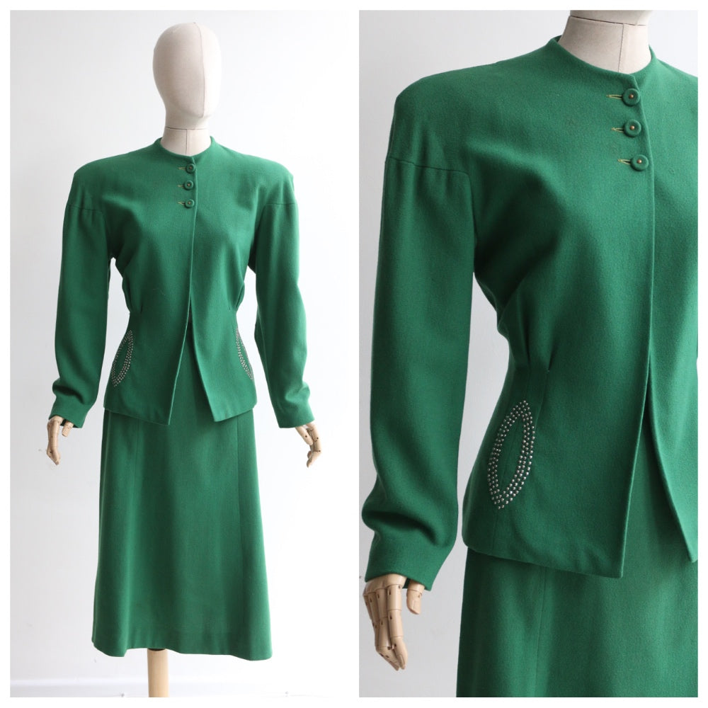 """Studded Green "" Vintage 1940's Green Wool Studded Skirt Suit UK 10-12 US 6-8"