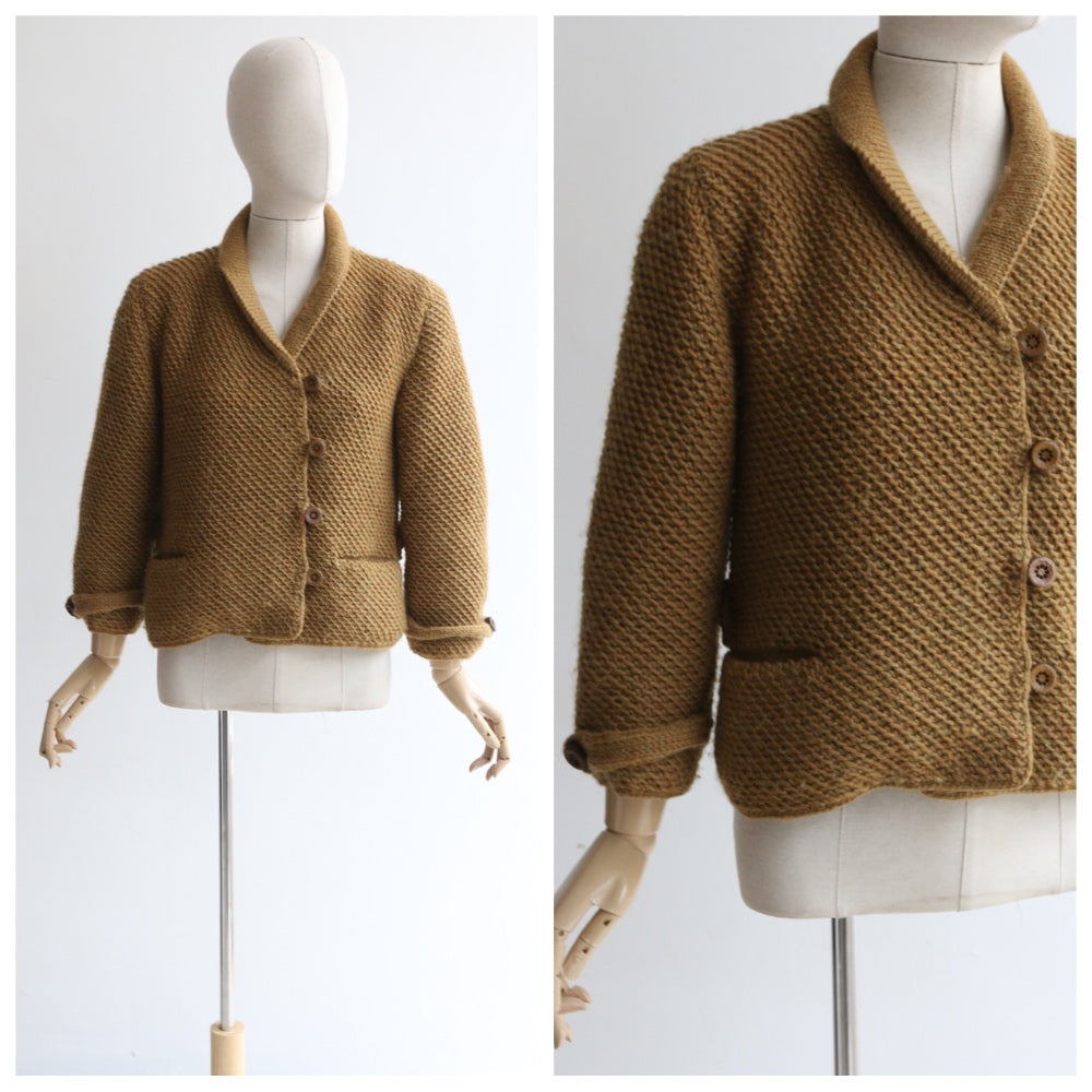 """Ochre"" Vintage 1960's Ochre Knitted Cardigan UK 12-14 US 8-10"
