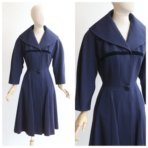 """Gabardine & Velvet"" Vintage 1950's Navy Blue Gabardine & Velvet Princess Dress Coat UK 10-12 US 6-8"