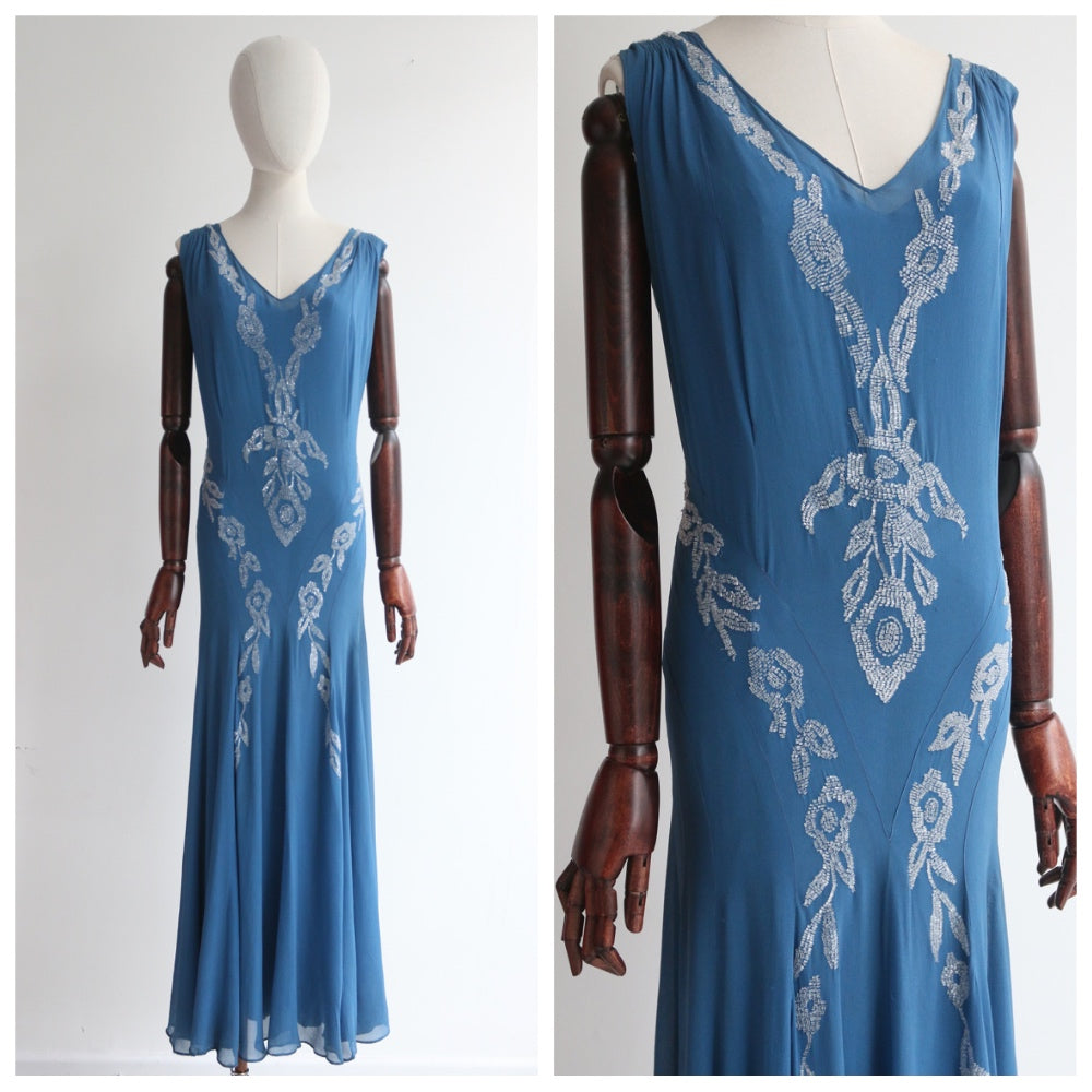 """Trailing Beaded Roses"" Vintage 1930's Blue Silk Beaded Dress UK 10-12 US 6-8"