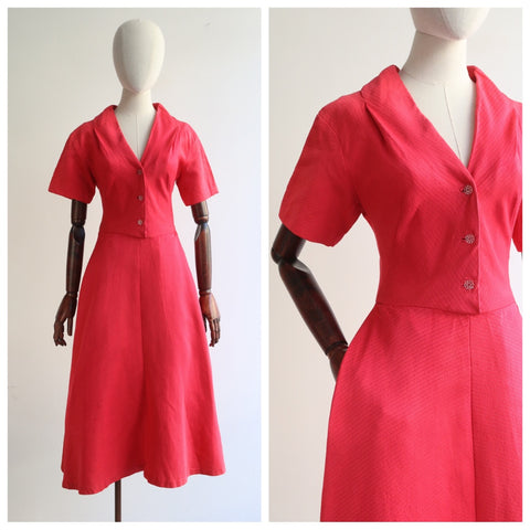 """Frank Usher"" Vintage 1950's Coral Pink Silk Frank Usher Dress UK 8 US 4"