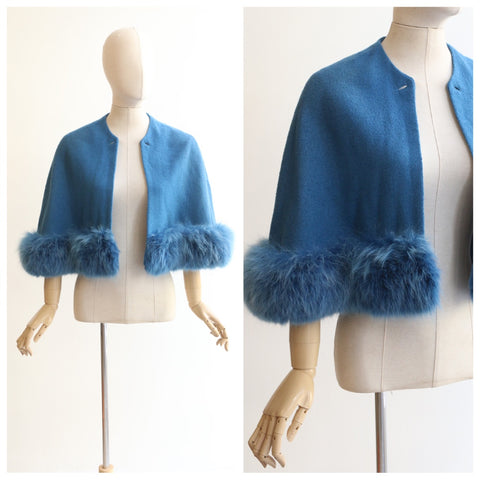 """Sky Blue Cape"" Vintage 1950's Dyed Fox Fur Edged Blue Fur Cape"