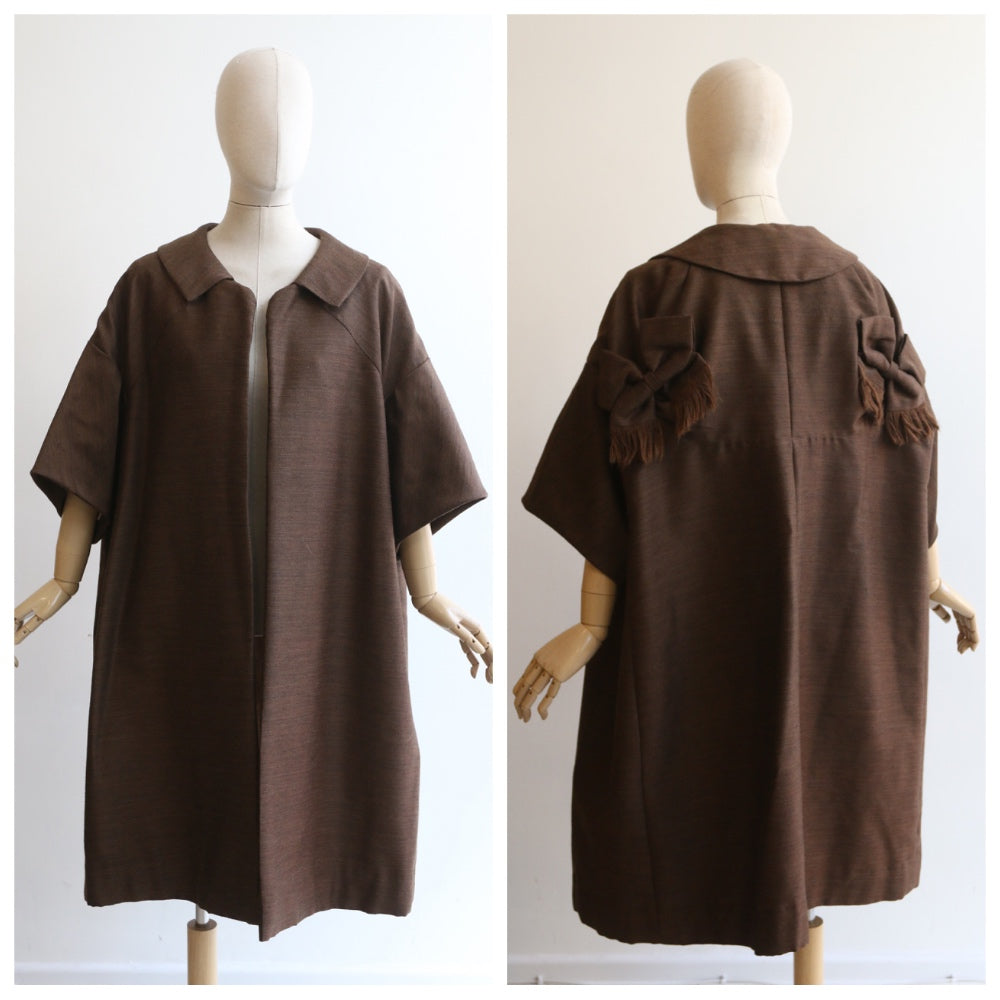 """Trimmed With Bows"" Vintage 1950's Bitter Chocolate Wide Duster Coat UK 10-16 US 6-12"
