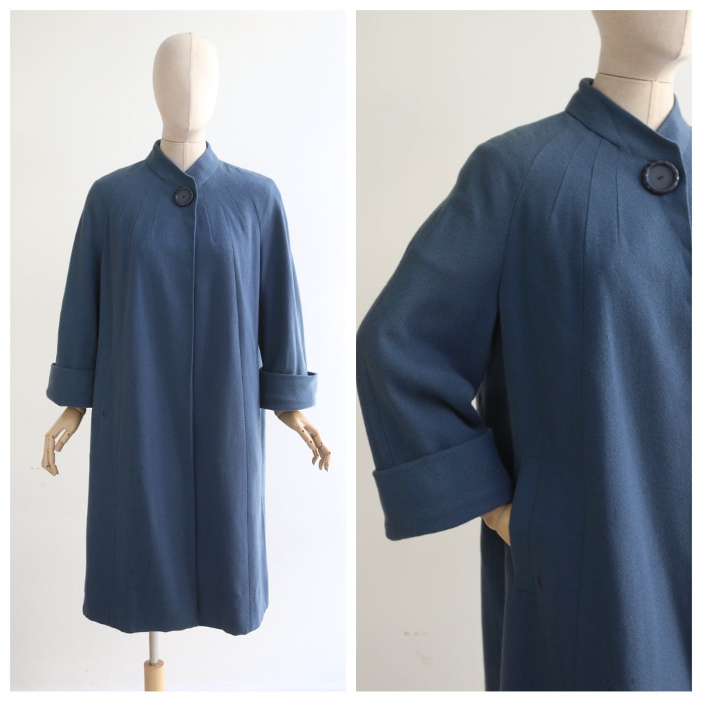 """Elgora"" Vintage 1950's Blue Wool Raglan Sleeve Coat UK 12-14 US 8-10"