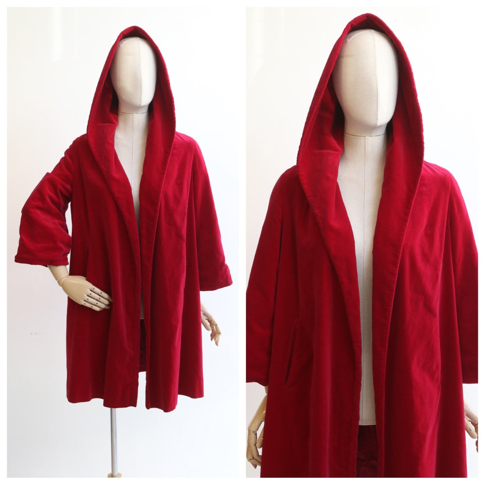 """Ruby Red"" Vintage 1950's Red Velvet Hooded Coat UK 10-14 US 6-10"