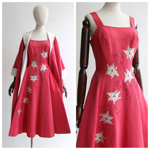 """Trailing Beaded Flowers "" Vintage 1950's Pink & White Beaded Dress & Matching Coat Set UK 8-10 US 4-6"