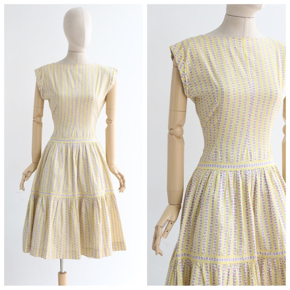 """Lilac Roses & Yellow Pinstripes"" Vintage 1950's Lilac and Yellow Cotton Dress UK 10-12 US 6-8"