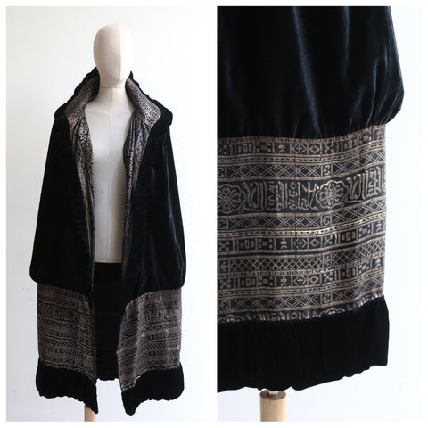 """Midnight & Lamé"" Vintage 1920's Black Silk Velvet & Lamé Cape"