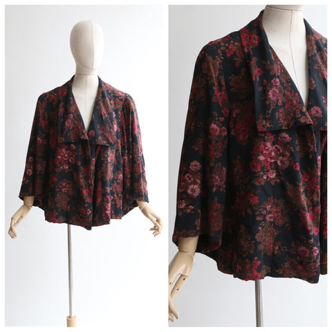 """Stiebel Bouquet"" Vintage 1950's Victor Steibel Floral Swing Jacket UK 8-16 US 4-12"