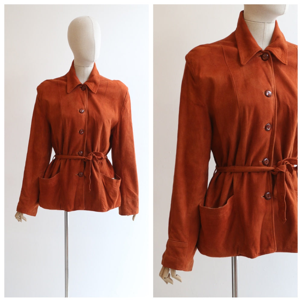 """Ginger Suede"" Vintage 1940's Ginger Suede Jacket UK 10-12-14 US 6-8-10"