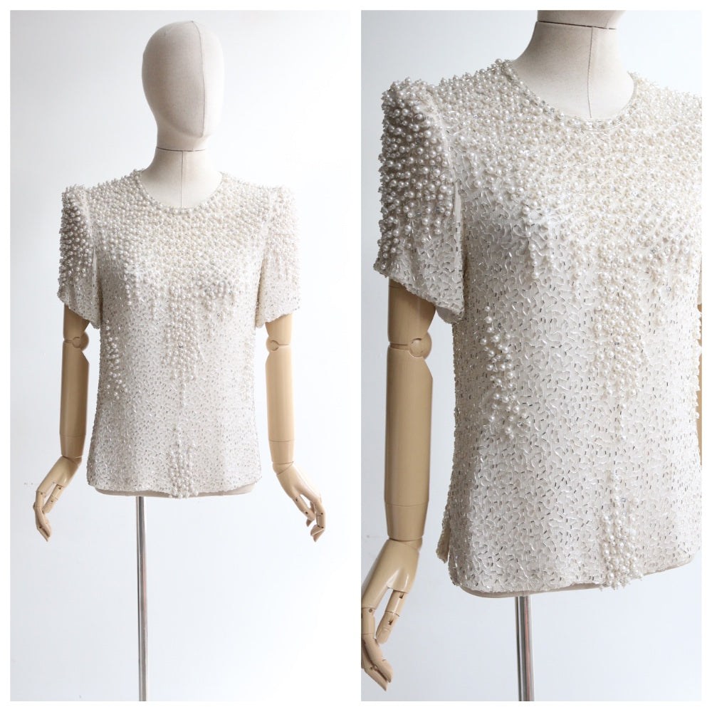 """Pearls & Bugles"" 1980's Silver & Pearl Ivory Silk Beaded Blouse UK 10-12 US 6-8"